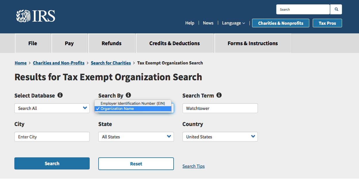 How to use IRS research organization tool - taxes and bookkeeping